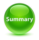 Summary glassy green round button Stock Image