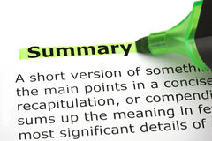 Summary Highlighted With Green Marker Royalty Free Stock Images