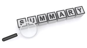 Summary. An illustration of letter blocks forming the word 'summary' with a magnifying glass stock illustration