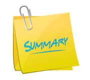 Summary memo post illustration design. Over a white background Stock Photos