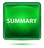 Summary Neon Light Green Square Button. Summary Isolated on Neon Light Green Square Button stock illustration