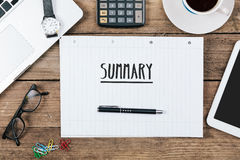 Summary on notebook on Office desk with computer technology, hig Royalty Free Stock Photos