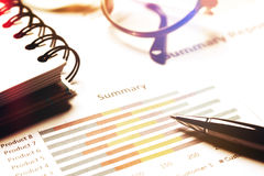 Summary report and financial analyzing concept, Pen and notebook Royalty Free Stock Image