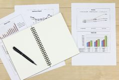 Summary report and financial analyzing market plan. Summary report and financial analyzing money market plan Review accounting data and calculate production Royalty Free Stock Image