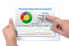 Summary report of household energy consumption. Someone holding a computer tablet showing a report of household energy consumption on a white background stock photo