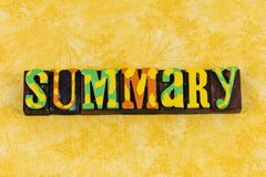 Summary report information data review analysis