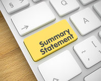 Summary Statement - Text on Yellow Keyboard Keypad. 3D. Business Concept with White Enter Yellow Key on the Keyboard: Summary Statement. Online Service Concept Stock Photos