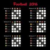Summary table of all group. Football championship 2016. Summary table. Vector illustration Royalty Free Stock Photos