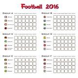 Summary table of all group. Football championship 2016. Summary table. Vector illustration Stock Photography