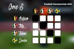 Summary table of Group E. Football championship 2016. Summary table. Vector illustration Royalty Free Stock Photo