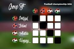 Summary table of Group F. Football championship 2016. Summary table. Vector illustration Royalty Free Stock Photos