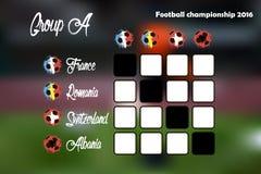 Summary table of Group A. Football championship 2016. Summary table. Vector illustration Stock Photos
