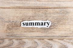 Summary text on paper. Word Summary on torn paper. Concept Image Stock Photo
