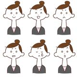 Summary 6 types of facial expression of hair women. The images of Summary 6 types of facial expression of hair women vector illustration