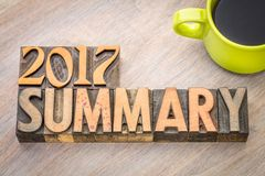 2017 summary word abstract in wood type. 2017 summary word abstract in vintage letterpress wood type with a cup of coffee Stock Photography