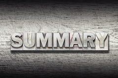 Summary word met. Summary word made from metallic letterpress on rough wooden texture Stock Photo