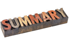 Summary word in vintage wood type Royalty Free Stock Image