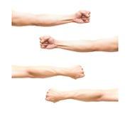 Summe 4 pic des Armes in der Faustaktion auf weißem Hintergrund lizenzfreie stockfotos
