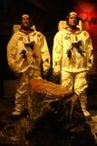 Summen-Aldrin und Neil Armstrong Wax Figures Lizenzfreie Stockfotos