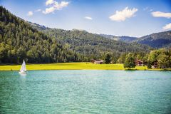 Summer湖Achensee,蒂罗尔 免版税图库摄影