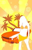 Summer. Abstract summer illustration with girl royalty free illustration