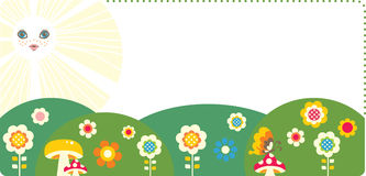 Summer. Cartoon summer background frame or border with copy-space Royalty Free Stock Photo