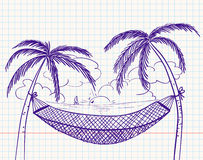 Summer. Doodle with hammock and palms Royalty Free Stock Photography