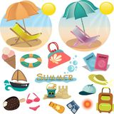 Set of summer icons. Vacation in vector. stock illustration