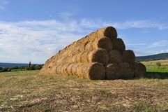 Summer. A pile of straw bales Stock Photo
