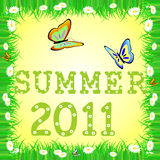 Summer 2011. Summer grass frame with butterfly and chamomile stock illustration