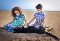 Free Summer 2020 Brother And Sister On The Beach With A Dog Royalty Free Stock Photography - 192001217