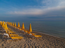 Summer. Morning on the beach. The most beautiful is near the sea royalty free stock photos