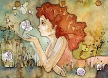 Summer. Watercolor illustration of a beautiful, delicate  girl Stock Photo