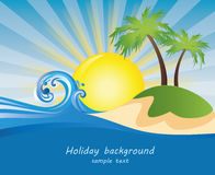 Summer. Themed beach illustration background with place for text Royalty Free Stock Photos
