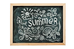 Summer. Summer concept art on a blackboard, isolated on white Stock Photo