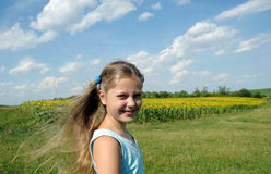 Summer. An image of a pretty little girl outdoors stock photo
