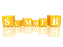 Summer in 3d cubes Stock Photos
