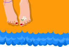 Summer. Feet on the sand and sea Stock Photography