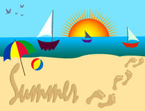 Summer. Beach scene with sun & sailboats.  Writing Sand  and foot prints  in the sand Stock Photo