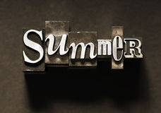 Summer. The word Summer done in old letterpress type Royalty Free Stock Photo
