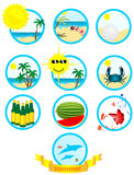 Summer. Set of ten summer illustrations in blue circles Royalty Free Stock Image