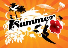 Summer. Graphic composition with several summer icons silhouettes surrounding the word summer Stock Photo