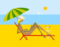 Summer. Girl on the beach with laptop Royalty Free Illustration