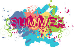 Summer. Vector illustration. The letters and background of splashing Stock Images
