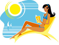 Summer. Girl on the beach reading magazine Royalty Free Stock Images