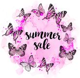 Summer abstract background with butterflies. And pink watercolor texture for seasonal sale stock illustration