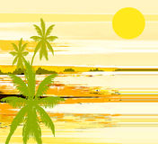 Summer. Abstract background  with decoration and trees and sun Royalty Free Stock Image