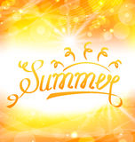 Summer Abstract Background with Text Lettering, Sun and Lens Flare. Illustration Summer Abstract Background with Text Lettering, Sun and Lens Flare - Vector Royalty Free Stock Image