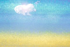 Summer abstract background texture with clouds. Golden sand beac Royalty Free Stock Image