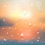 Summer abstract background with water drops. Sunrise stock illustration